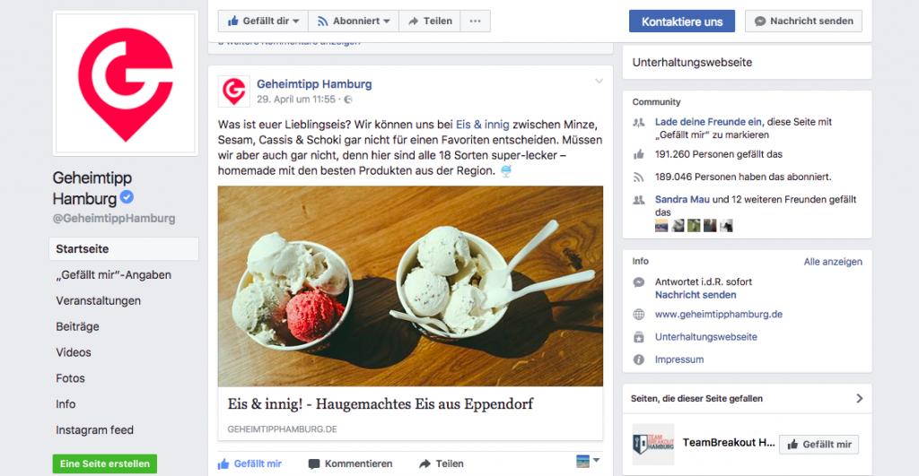 Eis & innig Screenshot Geheimtipp Hamburg Facebook Post Blogbeitrag