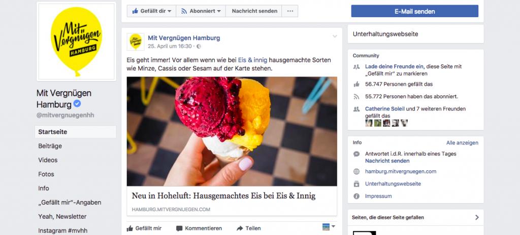 Eis & innig Screenshot Mit Vergnügen Hamburg Facebook Post