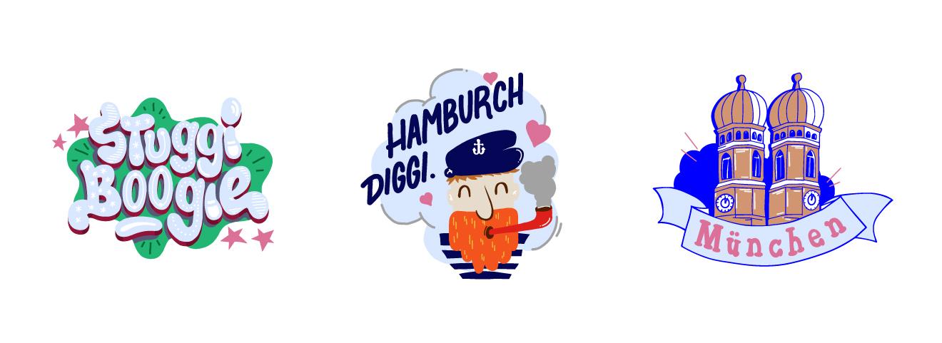"""Snapchat """"City Pack"""" Sticker Stuttgart, Hamburg und München Illustration"""
