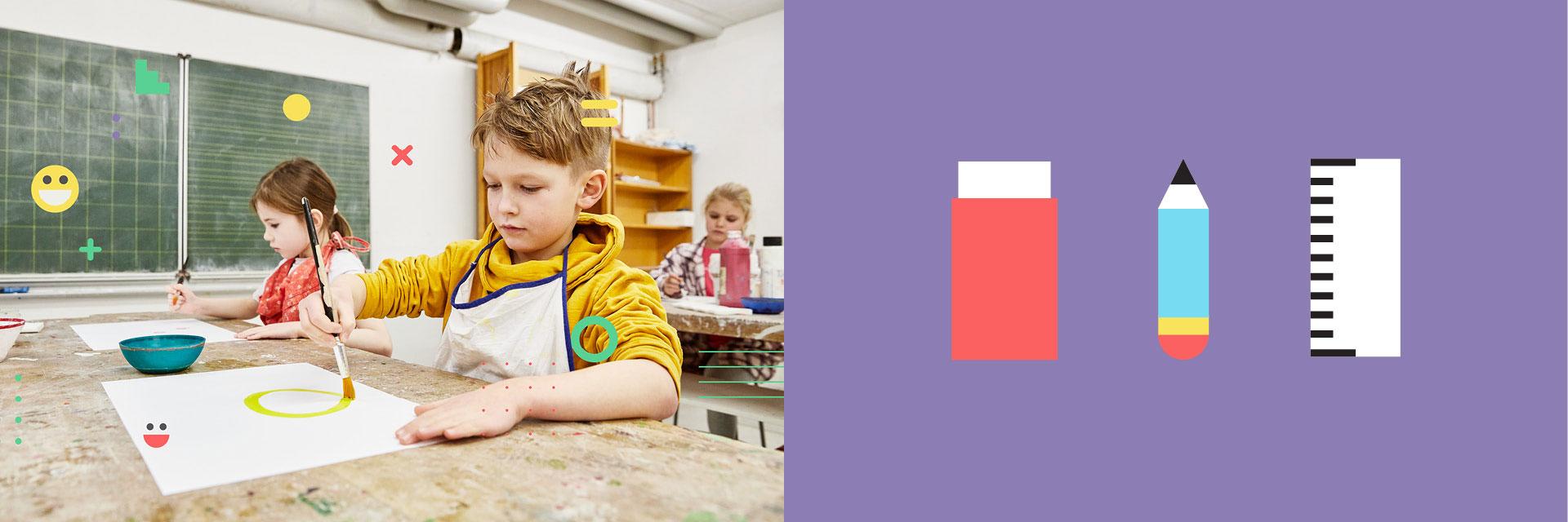 Grundschule Wöhrendamm Icons und Schüler