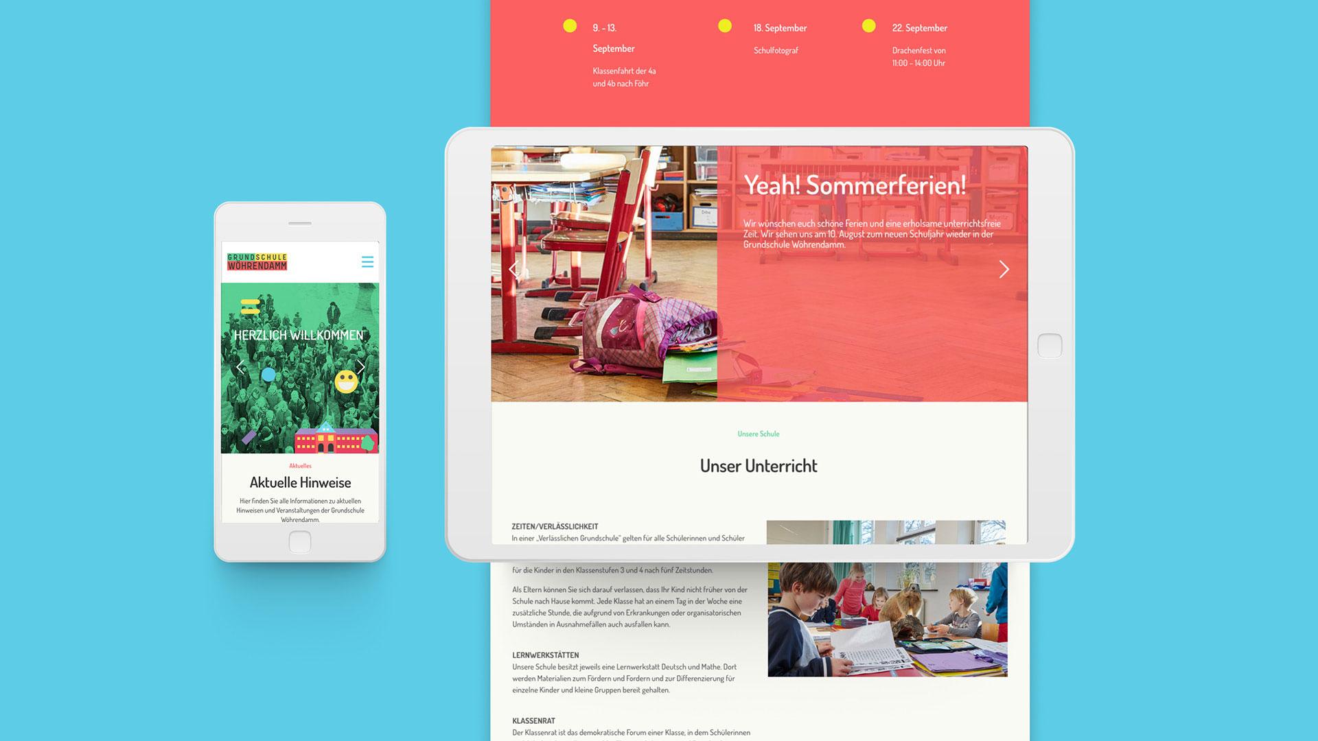 Grundschule Wöhrendamm mobile Ansicht tablet Webseite