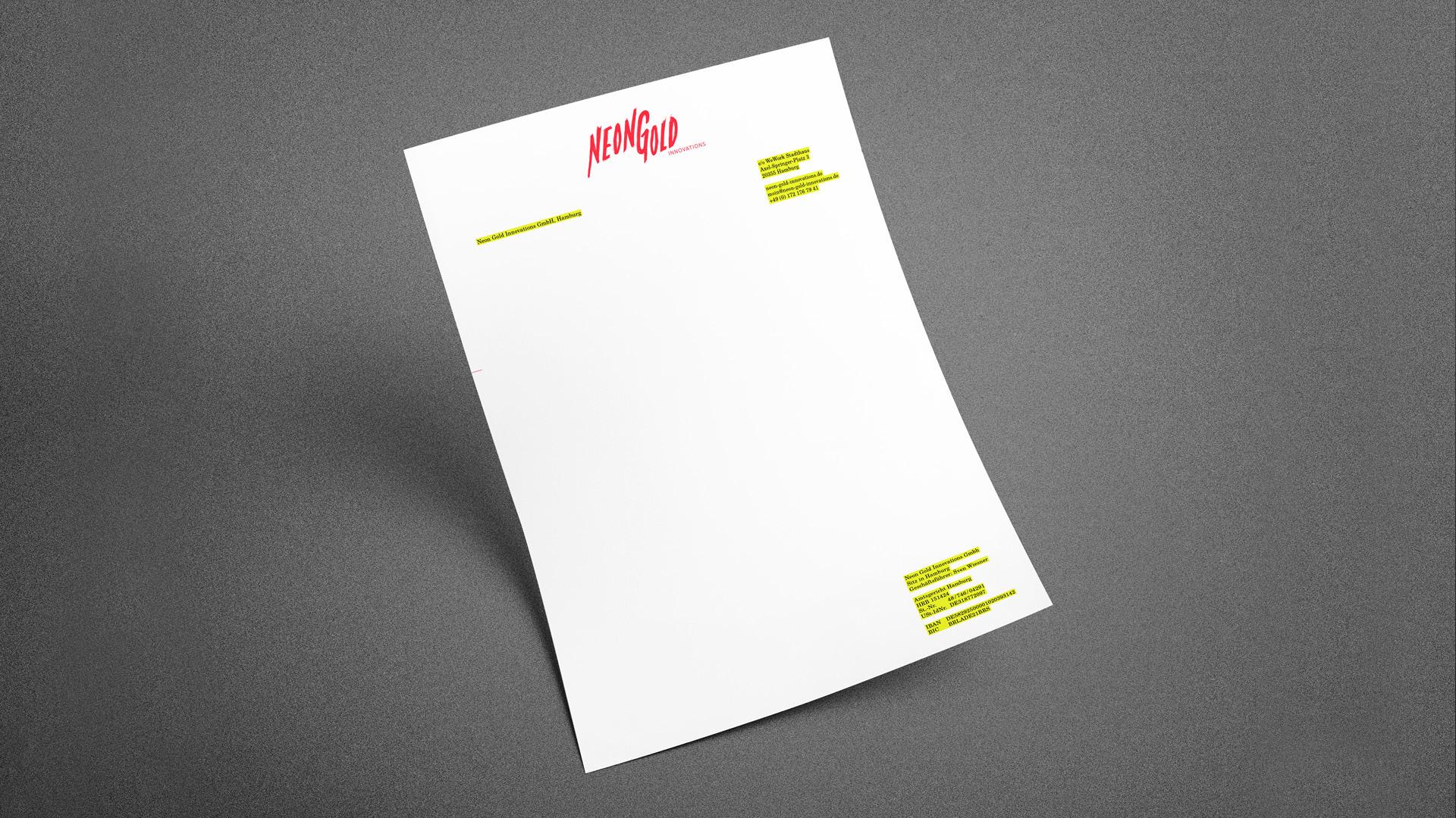Neon Gold Briefbogen