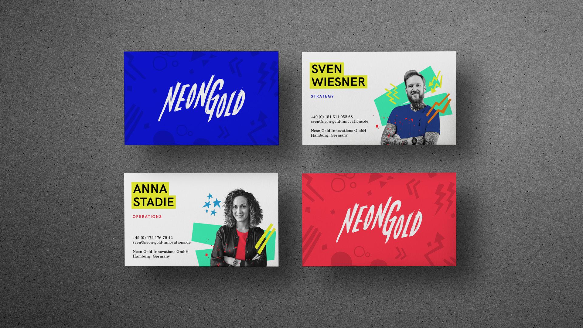 Neon Gold Innovations Visitenkarten Vor-und Rückseite