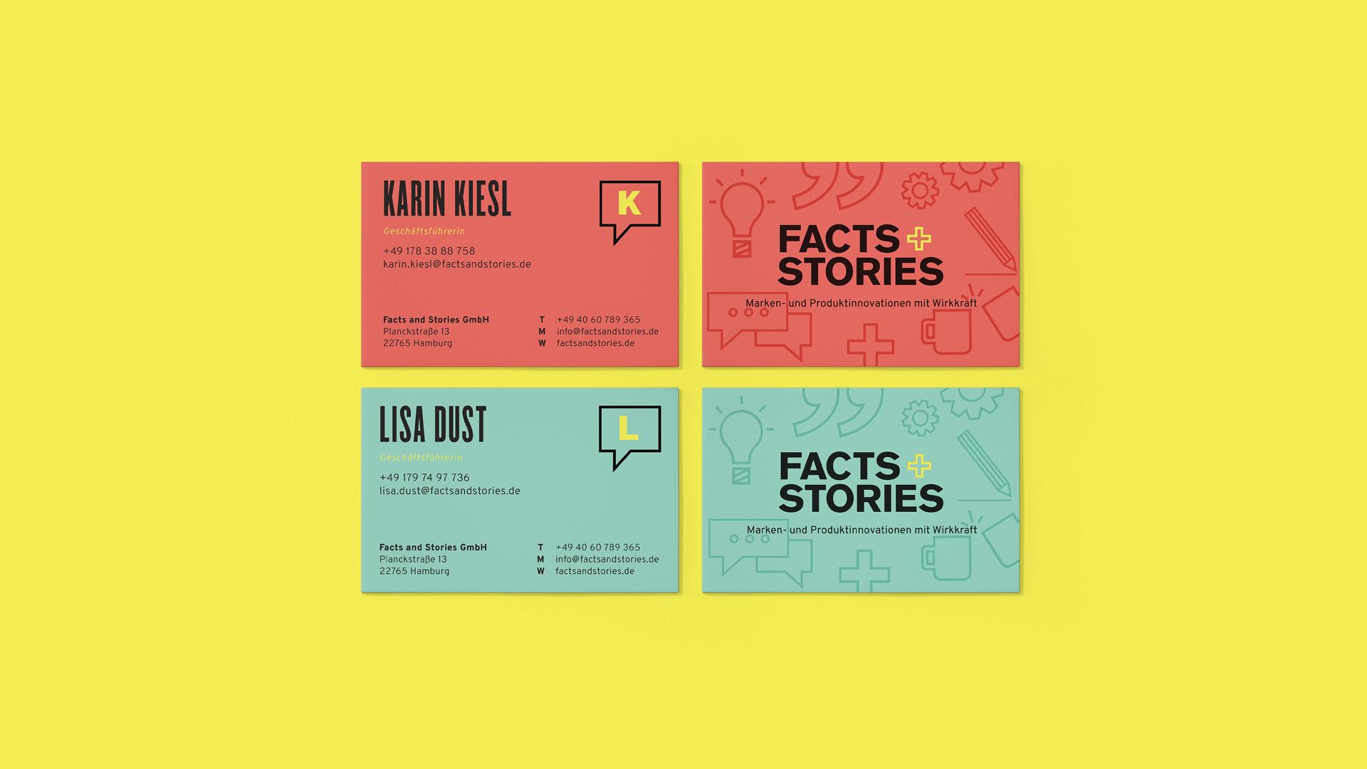 Facts+Stories Visitenkarten Vor- und Rückseite