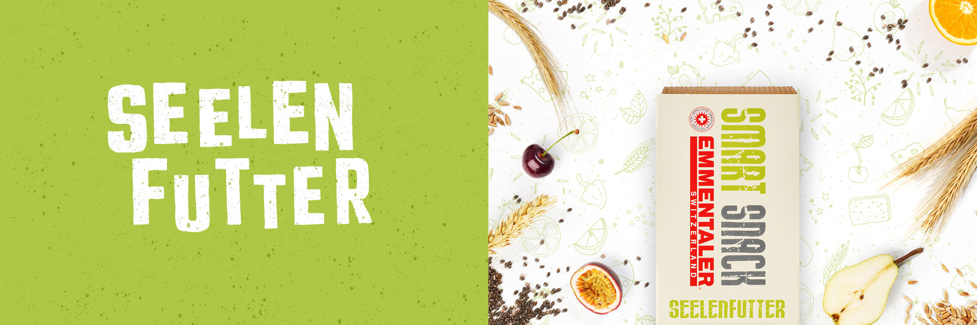 Emmentaler Smart Snack Seelenfutter Closeup Typo