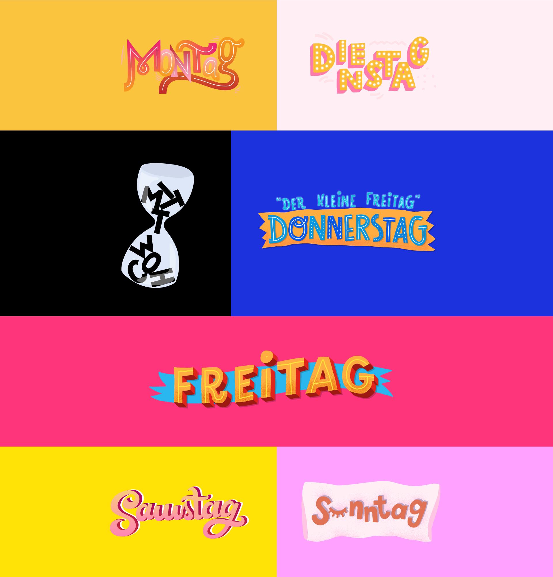 Snapchat Sticker Wochentage Montag bis Sonntag