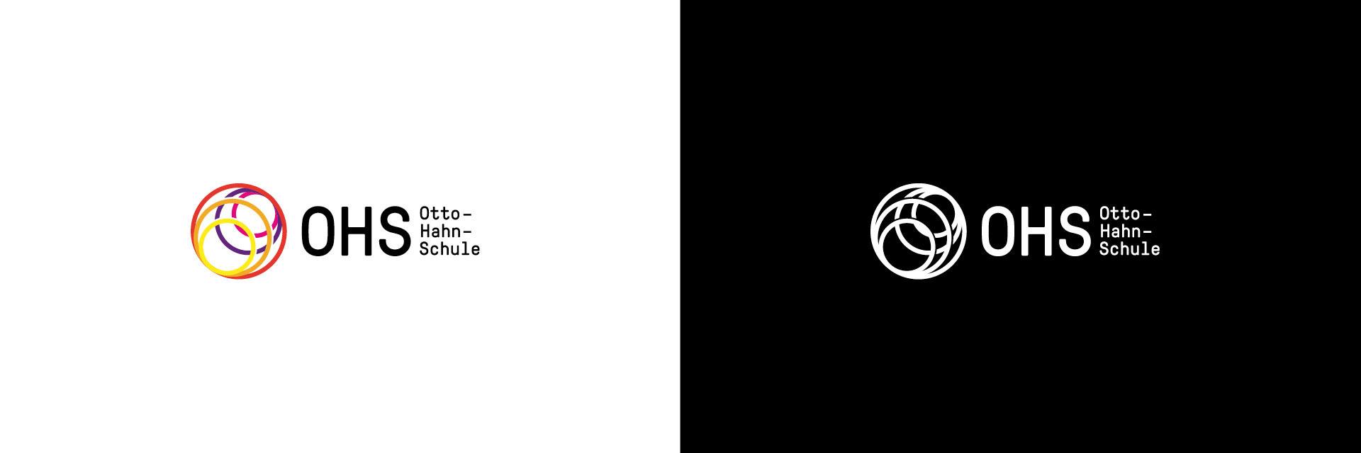 Otto-Hahn-Schule Logo schwarz-weiß und in Farbe