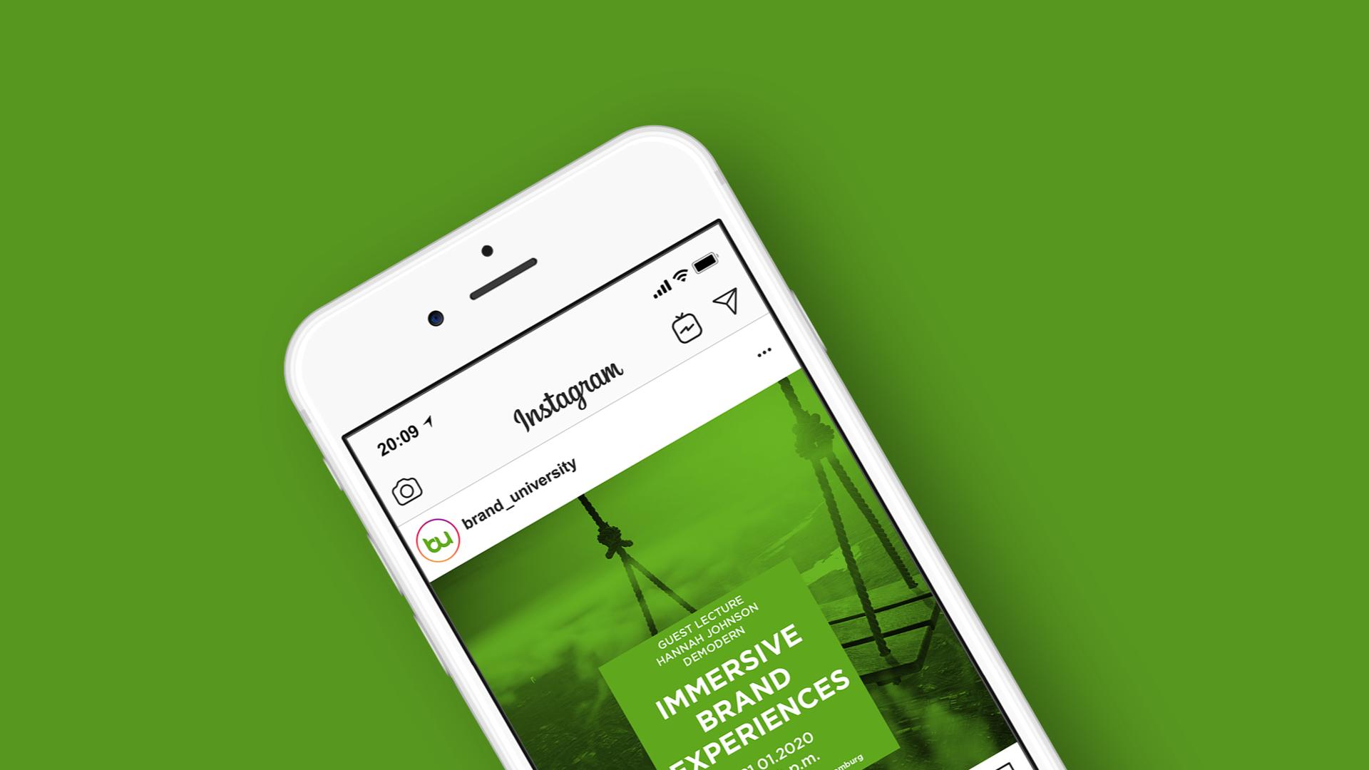 Brand University of Applied Mockup Instagram-Posting Gastvortrag
