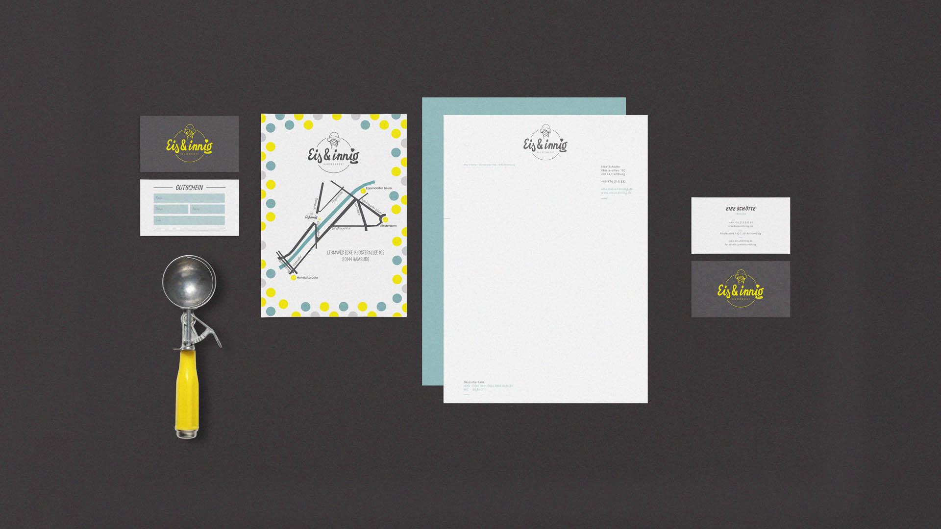 Eis & innig Brand Design Geschäftsausstattung komplett