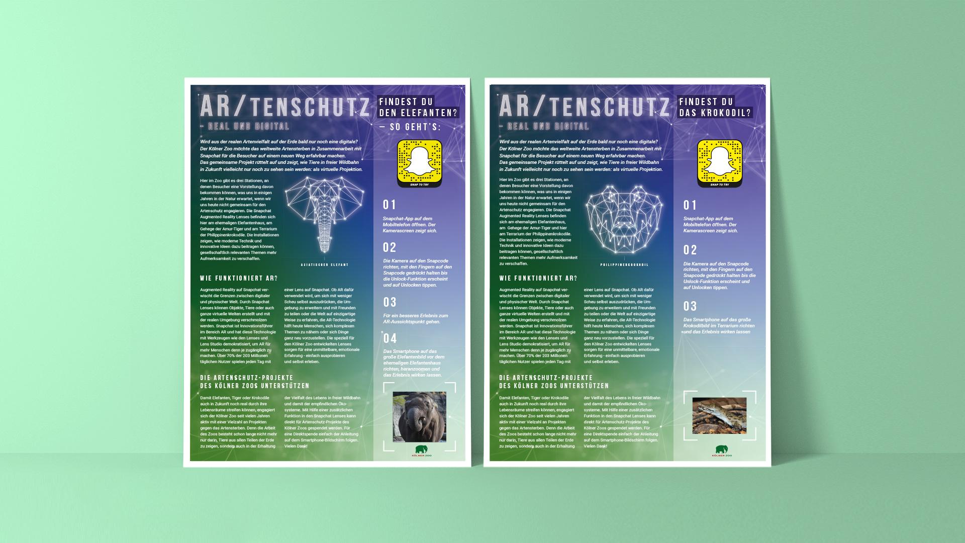 AR/TENSCHUTZ Poster Koelner Zoo Krokodil und Elefant