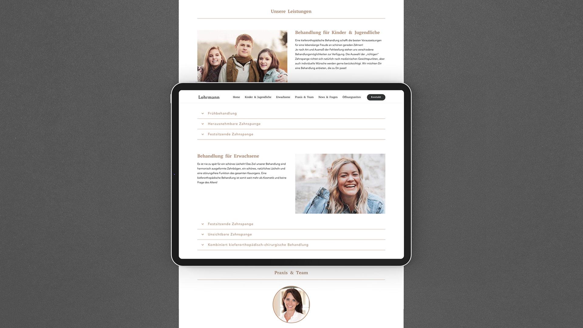 Kieferorthopäde Lohrmann Design Website
