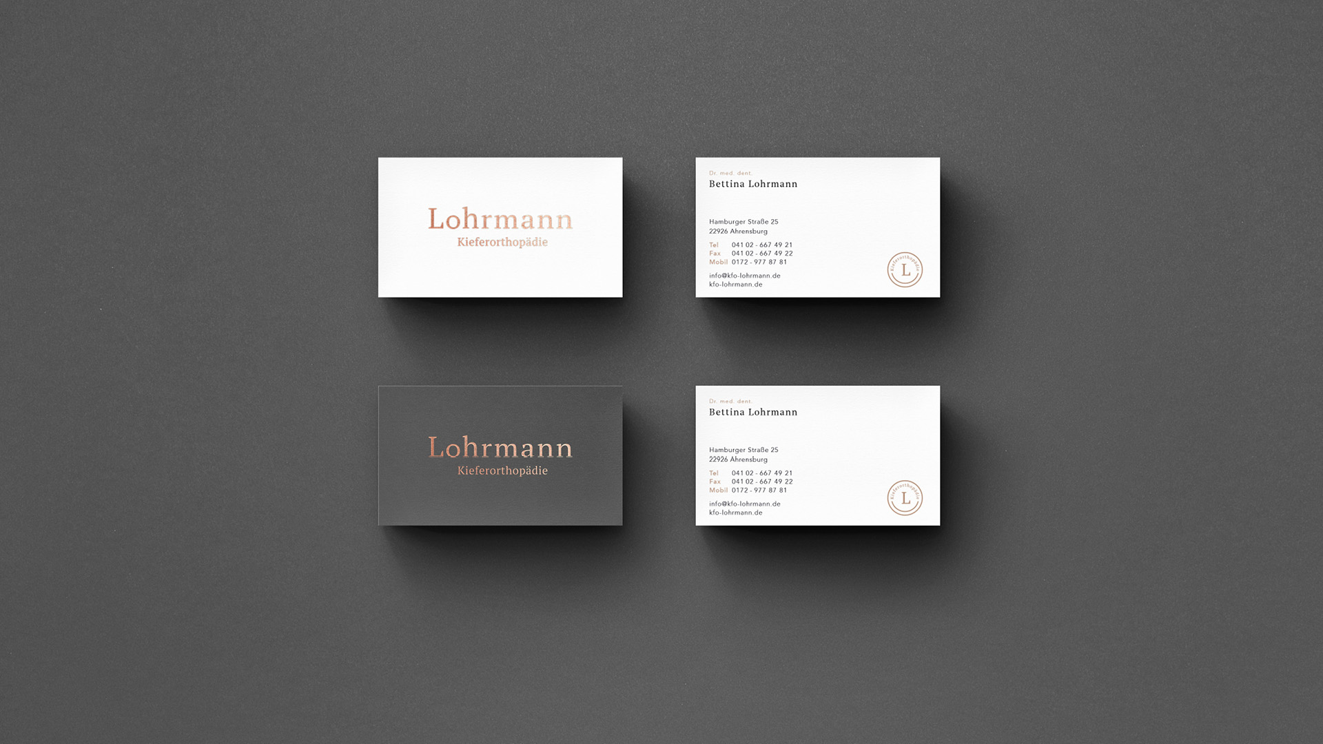Kieferorthopäde Lohrmann Visitenkarten Design